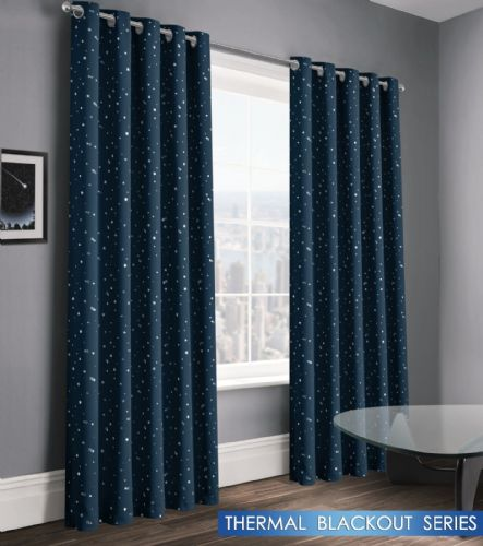 STARS STARLIGHT BOYS KIDS BEDROOM THERMAL BLACKOUT RINGTOP EYELET CURTAINS NAVY BLUE